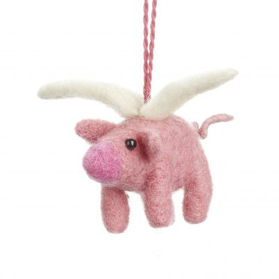 Handmade Felt Flying Pig Biodegradable Hanging Decoration