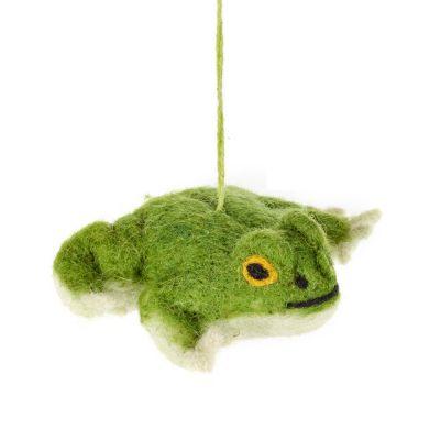 Handmade Felt Francois Frog Biodegradable Hanging Decoration