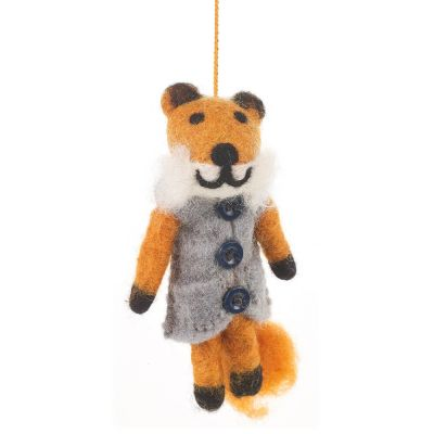 Handmade Felt Freddy the Fox Biodegradable Hanging Decoration