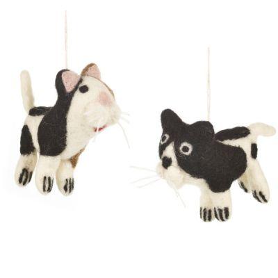 Handmade Felt Friendly Feline Hanging Decoration