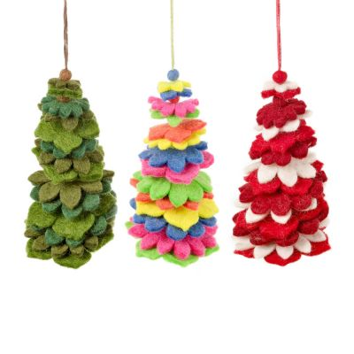 Handmade Felt Funky Trees Hanging Christmas Tree Decoration