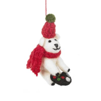 Handmade Felt Gamer Polar Bear Hanging Decoration
