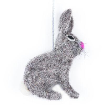 Handmade Felt Grey Bunny Biodegradable Hanging Easter Decoration