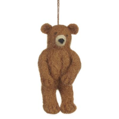 Handmade Felt Grizzly Bear Hanging Felt Decoration