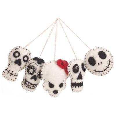 Handmade Felt Halloween Skulls (Set of 5) Hanging  Biodegradable Decorations