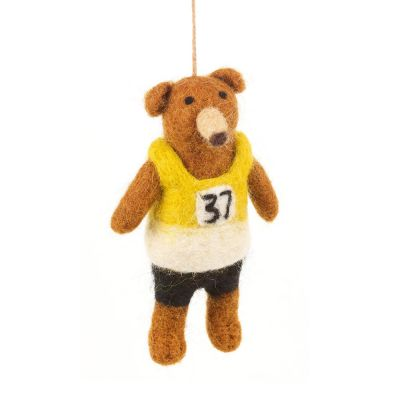 Handmade Felt Hanging Biodegradable Marathon Bear Decoration