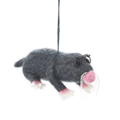 Handmade Felt Hanging Biodegradable Mole with Specs Decoration