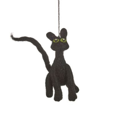 Handmade Felt Hanging Black Cat Biodegradable Decoration
