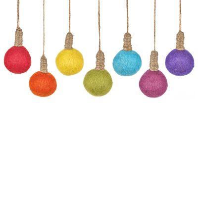 Handmade Felt Hanging Bulbs Set of 7 Christmas Decorations