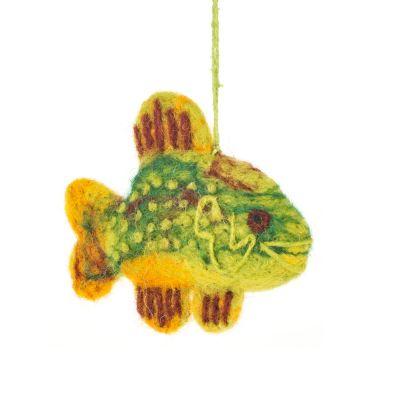 Handmade Felt Hanging Green Sunfish Biodegradable Decoration