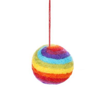 Handmade Felt Rainbow Bauble Hanging Christmas Decoration