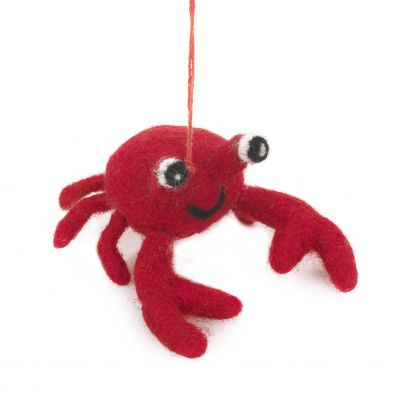 Handmade Felt Hanging Sebastian Crab Biodegradable Felt Decoration