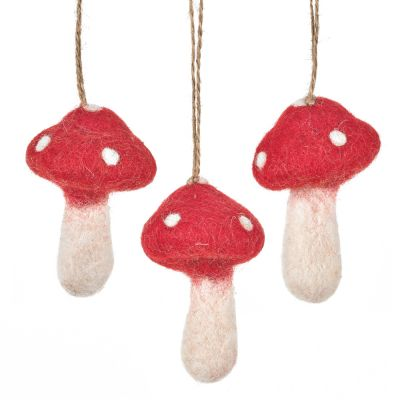 Handmade Felt Hanging Toadstools Set of 3 Autumnal Woodland Decorations