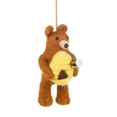 Handmade Felt Honey Bear Hanging Decoration