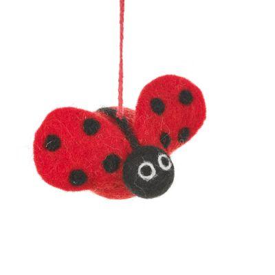 Handmade Felt Lottie Ladybird Hanging Fair trade Decoration