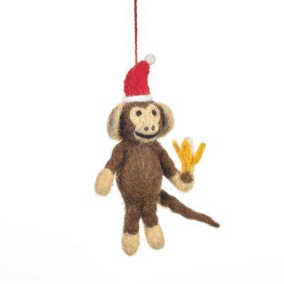 Handmade Needle Felt Merry Monkey Hanging Christmas Decoration