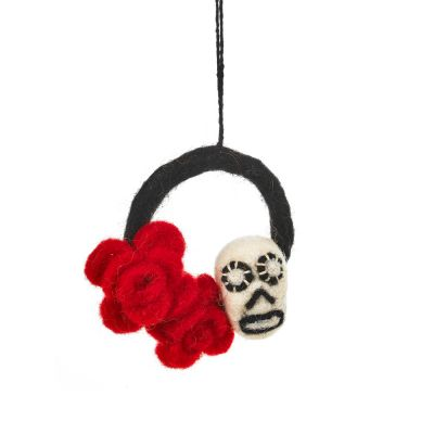 Handamde Felt Mexicana Skull Day of the Dead Hanging Decoration