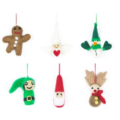 Handmade Needle Felt Mini Christmas Characters Hanging Decorations
