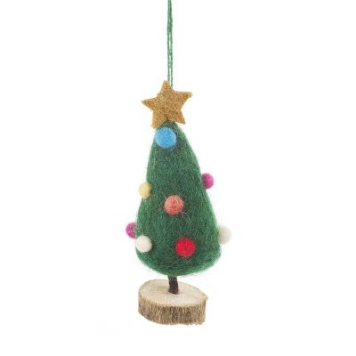 Handmade Felt Mini Xmas Tree on Wooden Stand Standing Decoration