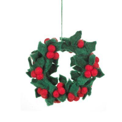 Handmade Felt Fair tade Holly Mini Wreath Christmas Decoration