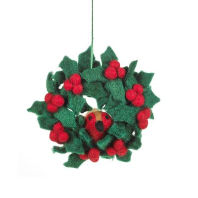 Handmade Felt Fair tade Holly Mini Wreath with Robins Christmas Decoration