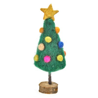 Handmade Felt Mini Christmas Tree on Wooden Stand Standing Decoration