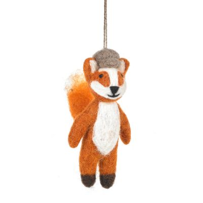Handmade Needle Felt Mr. Foxtrot Hanging Woodland Decoration