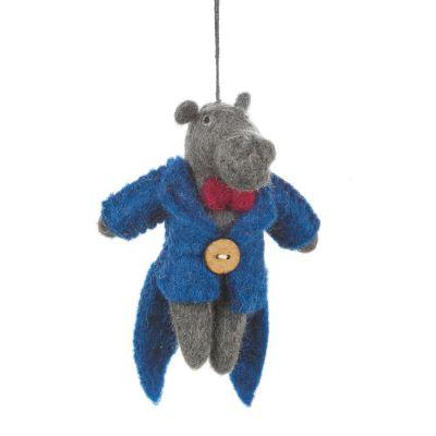 Handmade Felt Mr. Hipsterpotamus Hanging Hippo Decoration