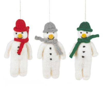 Hanging Felt Mr. Snowman Handmade Felt Biodegradable Decoration