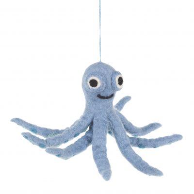 Handmade Felt Ollie the Octopus Fair trade Hanging Decoration