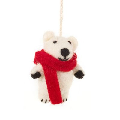 Hanging Felt Pedro Polar Bear  Handmade Felt Biodegradable Decoration