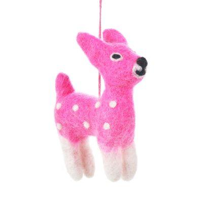 Handmade Felt Pink Bambi Biodegradable Felt Decoration
