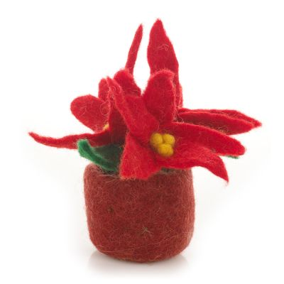 Handmade Felt Poinsetta Plant Christmas Biodegradable Decoration