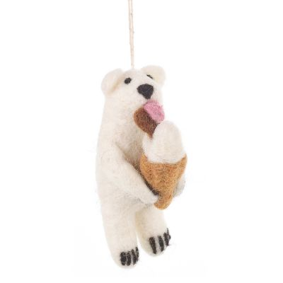 Handmade Felt Polar Bear with Ice Cream Biodegradable Hanging Decoration