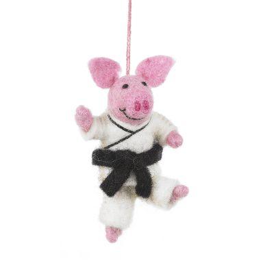 Handmade Felt Pork Chop Hanging Karate Pig Decoration