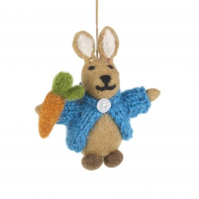 Handmade Felt Rabbit in Cardigan Easter Hanging Decoration