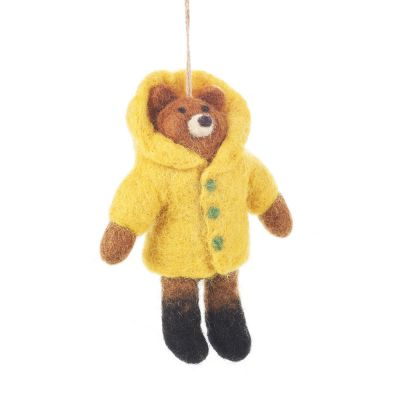 Handmade Felt Rainy Day Bear Biodegradable Hanging Decoration