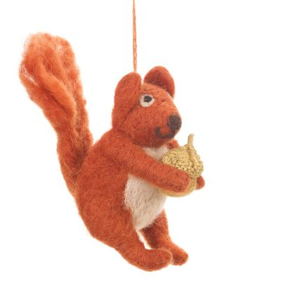 Handmade Felt Red Bushy Squirrel Biodegradable Hanging Decoration