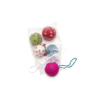 Handmade Felt Round Snowflake Baubles (Bag of 5) Christmas Hanging Decorations