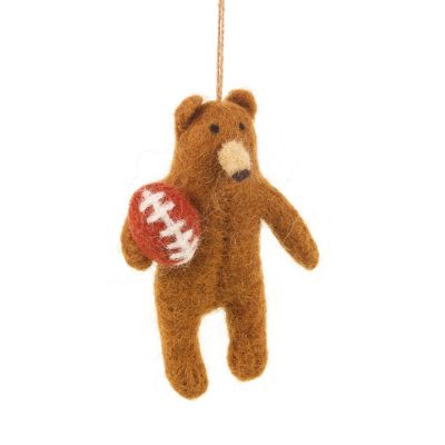 Handmade Felt Rugby Bear Biodegradable Hanging Decoration