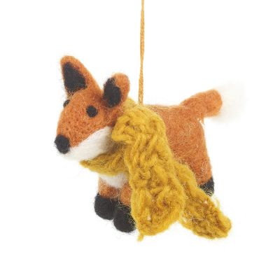 Handmade Felt Rusty Fox  Biodegradable Hanging Decoration