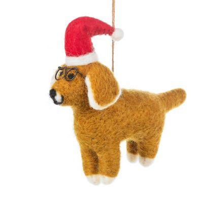 Handmade Felt Saint Nicholas the Dog Hanging Christmas Decoration