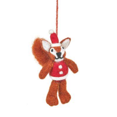 Handmade Felt Santa Squirrel Hanging Christmas Decoration