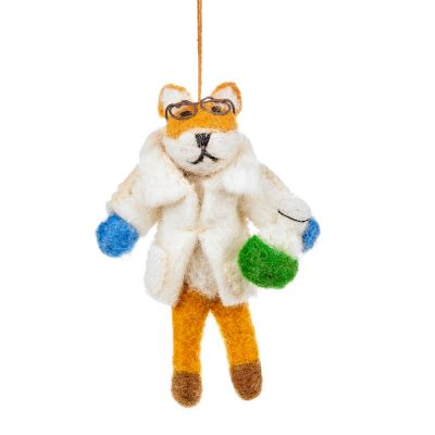 Handmade Felt Scientist Lab Fox Hanging Decoration