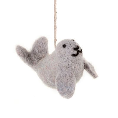 Handmade Felt Hanging Skipper the Seal Biodegradable Felt Decoration