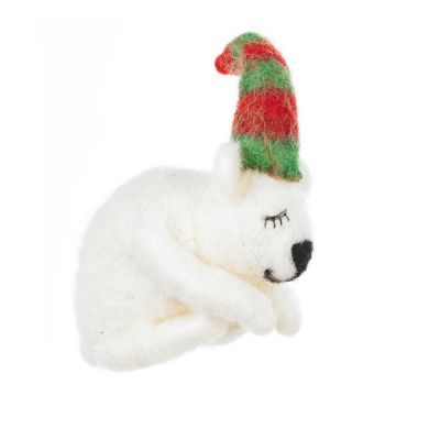 Handmade Needle Felted Sleeping Polar Bear Standing Decoration