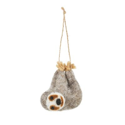 Handmade Felt Biodegradable Hanging Sloth Safari Decoration