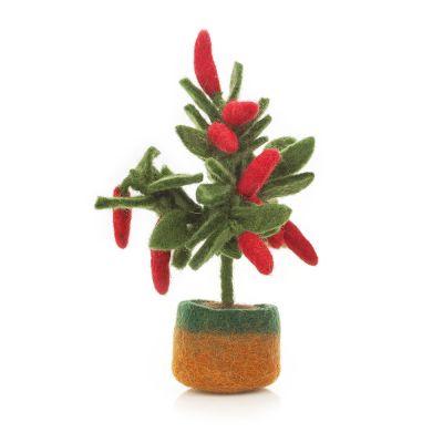 Handmade Felt Standing Chilli Plant Decoration