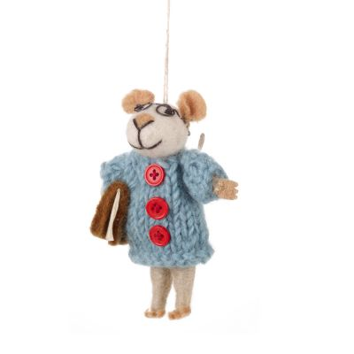Handmade Felt Susie Mouse  Biodegradable Hanging Decoration