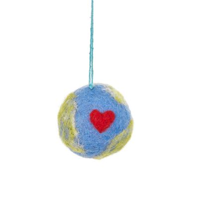 Handmade Felt Love Your Planet Hanging Earth Eco Decoration